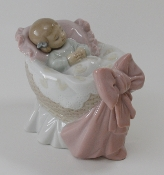 "Lladro- ""Baby in Crib"" Figurine"