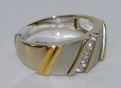 Men's 14K White & Yellow Gold Diamond Ring