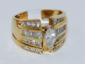 Women's 14K Yellow Gold Bridal Set Diamond Ring