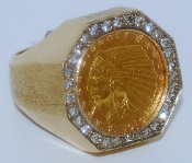 Men's $2.50 Indian Gold Coin in 14K Yellow Gold Ring