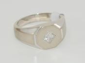 Men's 14K White Gold w/ Approx. .50 CT Diamond