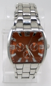 Men's Orange Face Stainless Steel Watch