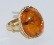 Women's 8K Yellow Gold Amber Ring