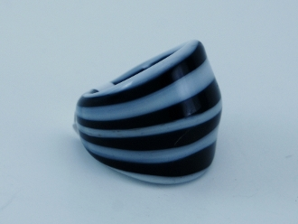 Women's Black and White Glass Blown Ring