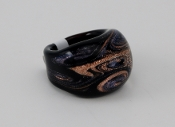 Women's Black Sand Glass Blown Ring