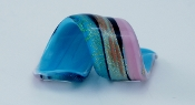 Women's Aqua and Pink Glass Blown Ring
