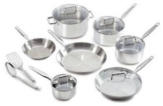 T-FAL Ultimate 12pc Stainless Steel w/copper bottom Pots &Pans